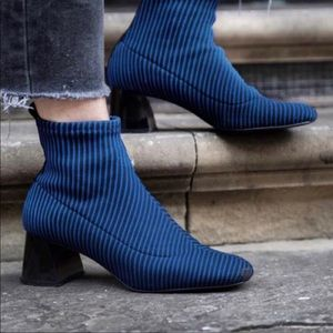 Zara Striped sock Ankle Bootie with Square Heel